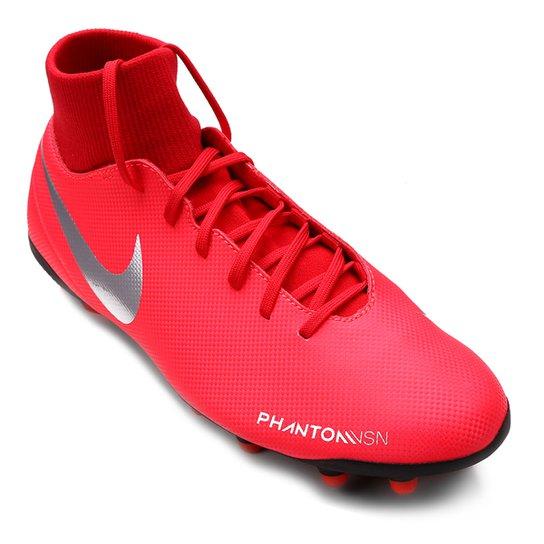 2685b84426 Chuteira Campo Nike Phantom Vision Club FG - Vermelho e Prata
