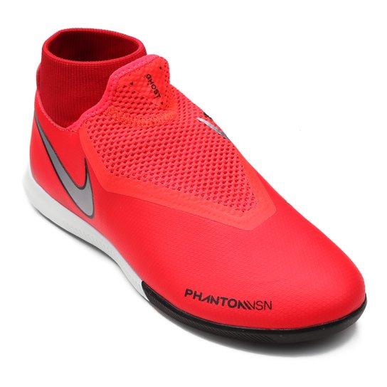 ff5aaa006aff6 Chuteira Futsal Nike Phantom Vision Academy DF IC - Vermelho e Prata ...