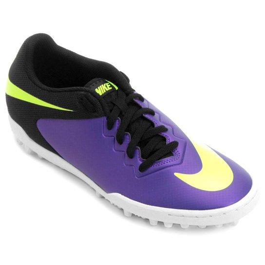 2630a188e8 Chuteira Society Nike Hypervenom Pro TF - Verde Limão+Roxo