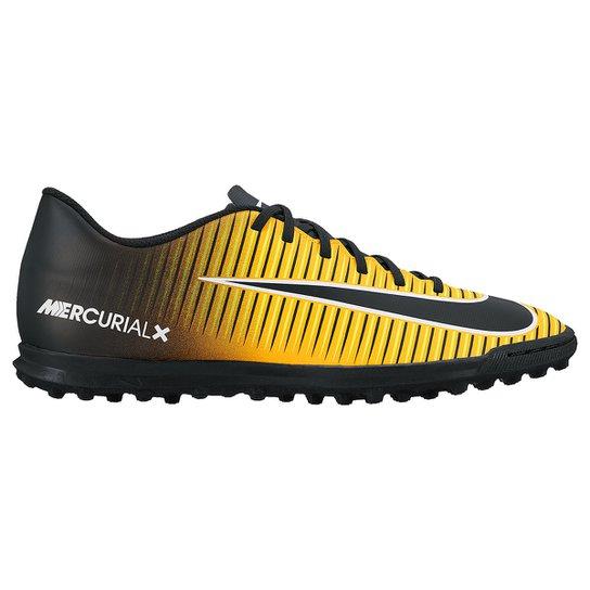659a308c11 Chuteira Society Nike Mercurial Vortex 3 TF - Preto e Laranja Escuro ...