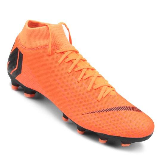 8b2988bb31be8 Chuteira Campo Nike Mercurial Superfly 6 Academy - Laranja e Preto ...