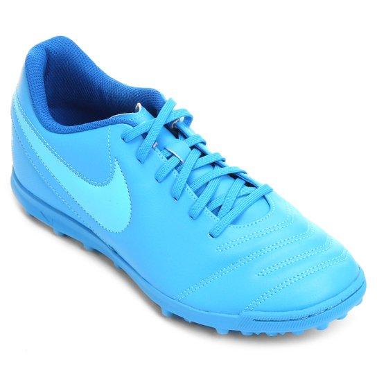 c14a2de4a9 Chuteira Society Nike Tiempo Rio 3 TF Masculina - Azul+Azul claro