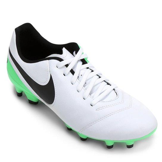 b22e387f519a2 Chuteira Campo Nike Tiempo Genio 2 Leather FG - Branco+Verde Limão
