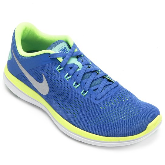 3c1be93e30c Tênis Nike Flex 2016 RN Feminino - Azul+Verde Limão