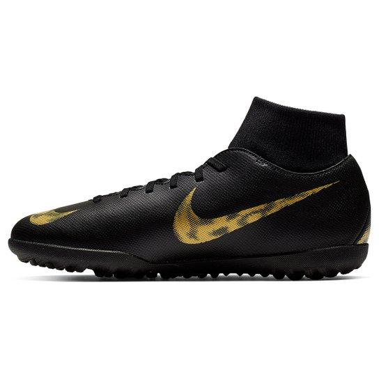 88b1332ea4 Chuteira Society Nike Mercurial Superfly 6 Club - Preto e Dourado ...