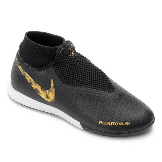 616bf4b32a563 Chuteira Futsal Nike Phantom Vision Academy DF IC - Preto e Dourado ...