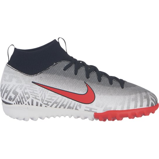 b6896c86e0 Chuteira Society Infantil Nike Mercurial Superfly 6 Academy Gs Neymar Jr TF  - Branco+Vermelho