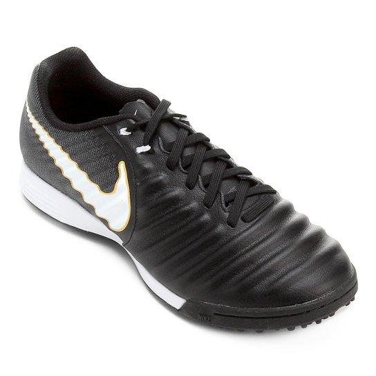 fee4ceaeb570a Chuteira Society Nike Tiempo Ligera 4 TF - Preto e Branco | Loja do ...