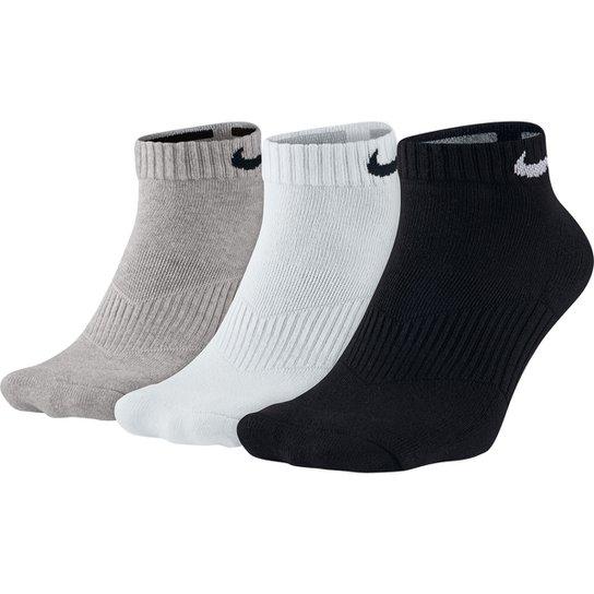 Meia Nike Cano Baixo Dri-Fit Pacote com 3 Pares - Branco e Preto ... 98a30ea9c2007