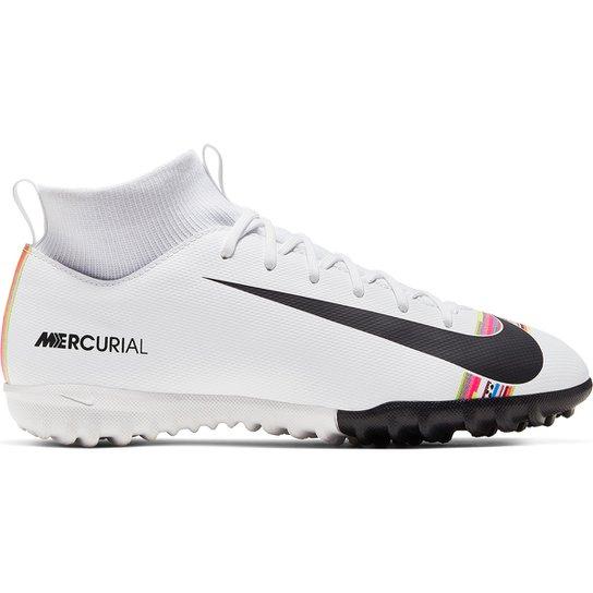 8164eaa01c Chuteira Society Infantil Nike Mercurial Superfly 6 Academy GS CR7 TF -  Branco+Preto