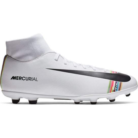 0bdafabf23c3b Chuteira Campo Nike Mercurial Superfly 6 Club CR7 MG - Branco+Preto