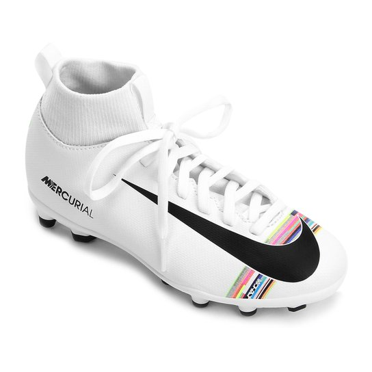 e140c88437bad Chuteira Campo Infantil Nike Mercurial Superfly 6 Club CR7 FG - Branco+Preto