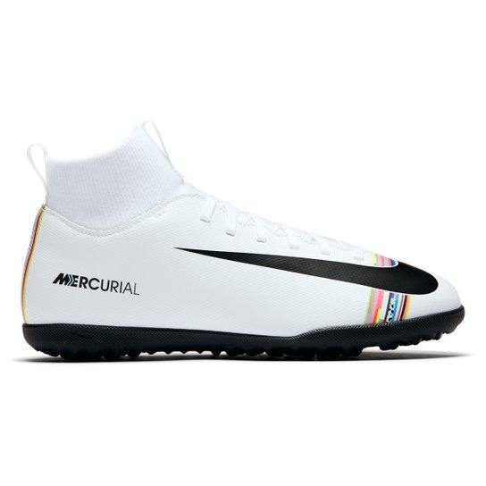 264f51d493 Chuteira Society Infantil Nike Mercurial Superfly 6 Club CR7 TF -  Branco+Preto