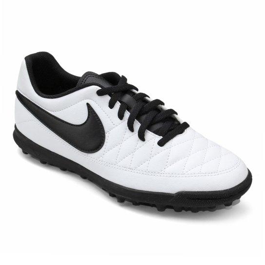 Chuteira Society Nike Majestry TF - Branco e Preto - Compre Agora ... c021d596c84d2