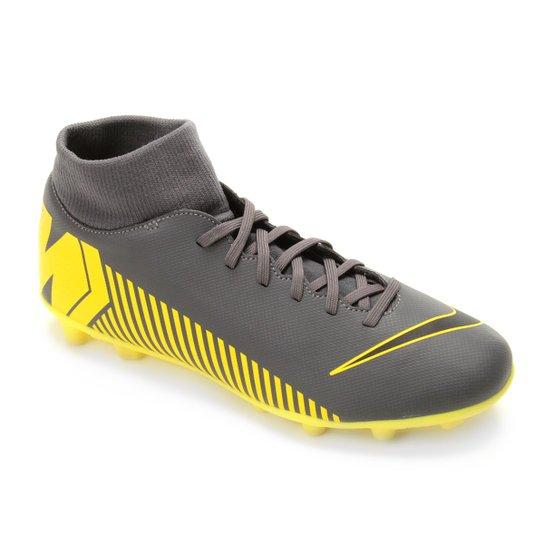 0bb5633cb3af5 Chuteira Campo Nike Mercurial Superfly 6 Club FG - Cinza e Amarelo ...