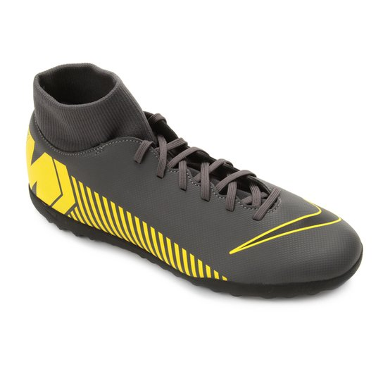 7ed1a7fffa50c Chuteira Society Nike Mercurial Superfly 6 Club TF - Cinza e Amarelo ...