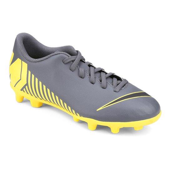 Chuteira Campo Infantil Nike Vapor 12 Club GS FG - Cinza e Amarelo ... e032a6d7137
