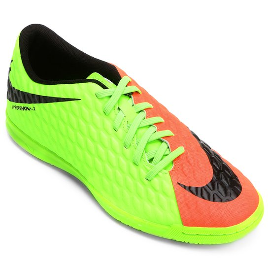 9a1804a4cc847 Chuteira Futsal Nike Hypervenom Phade 3 IC - Laranja+Verde