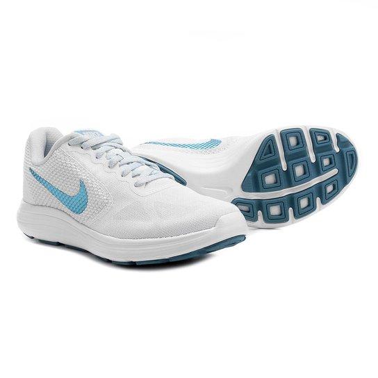 b3f50a45f Tênis Nike Revolution 3 Feminino - Branco e Azul Claro - Compre ...