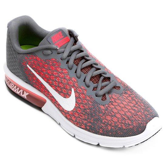 57e73937709a9 Tênis Nike Air Max Sequent 2 Feminino - Cinza e Vermelho - Compre ...