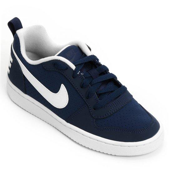 7571fda98ae Tênis Infantil Nike Court Borough Low - Marinho e Branco - Compre ...