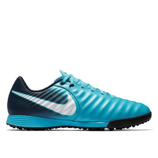 7e172c2dbe Chuteira Society Nike Tiempo Ligera 4 TF - Azul e Branco