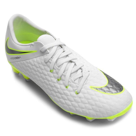 fbf0ab904 Chuteira Campo Nike Hypervenom Phantom 3 Academy FG - Branco e Cinza ...