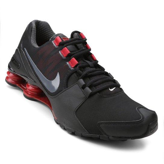 4203dc95e58 Tênis Couro Nike Shox Avenue LTR Masculino - Preto e Vermelho ...