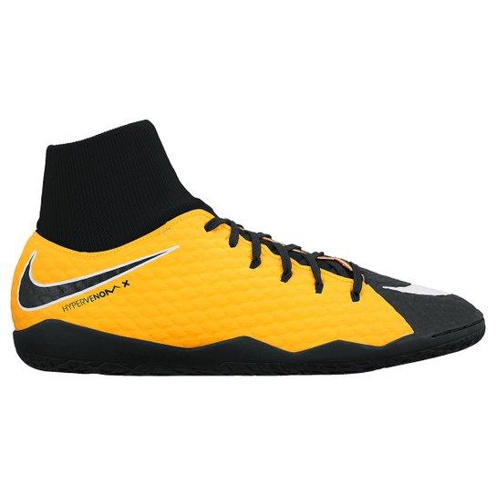 58a8747fd8 Chuteira Futsal Nike Hypervenom Phelon 3 DF IC - Laranja e Branco ...