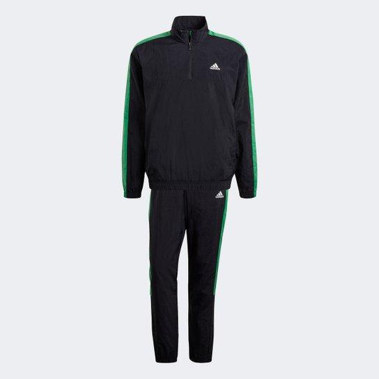 Agasalho Adidas Woven 1/2 Zips Masculino - Preto