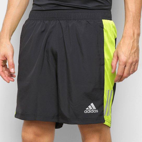 Bermuda Adidas Own The Run Logo Masculina - Preto+verde