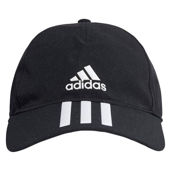 Boné Adidas Aba Curva Strapback 3 Listras - Preto+Branco
