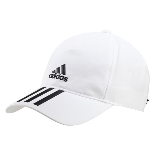 Boné Adidas Aba Curva Strapback 3 Listras - Branco+Preto