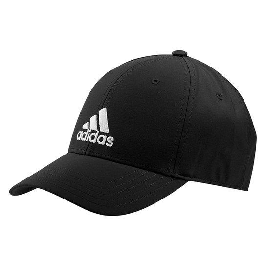 Boné Adidas Aba Curva Strapback Baseball Logo - Preto+Branco