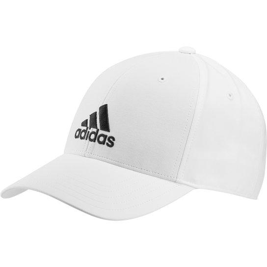 Boné Adidas Aba Curva Strapback Baseball Logo - Branco+Preto