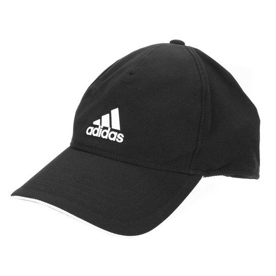 Boné Adidas Aba Curva Strapback c/ Proteção UV - Preto+Branco