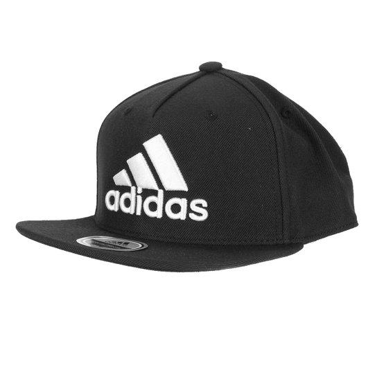 Boné Adidas Snap Back Logo Aba Reta - Preto+Gelo