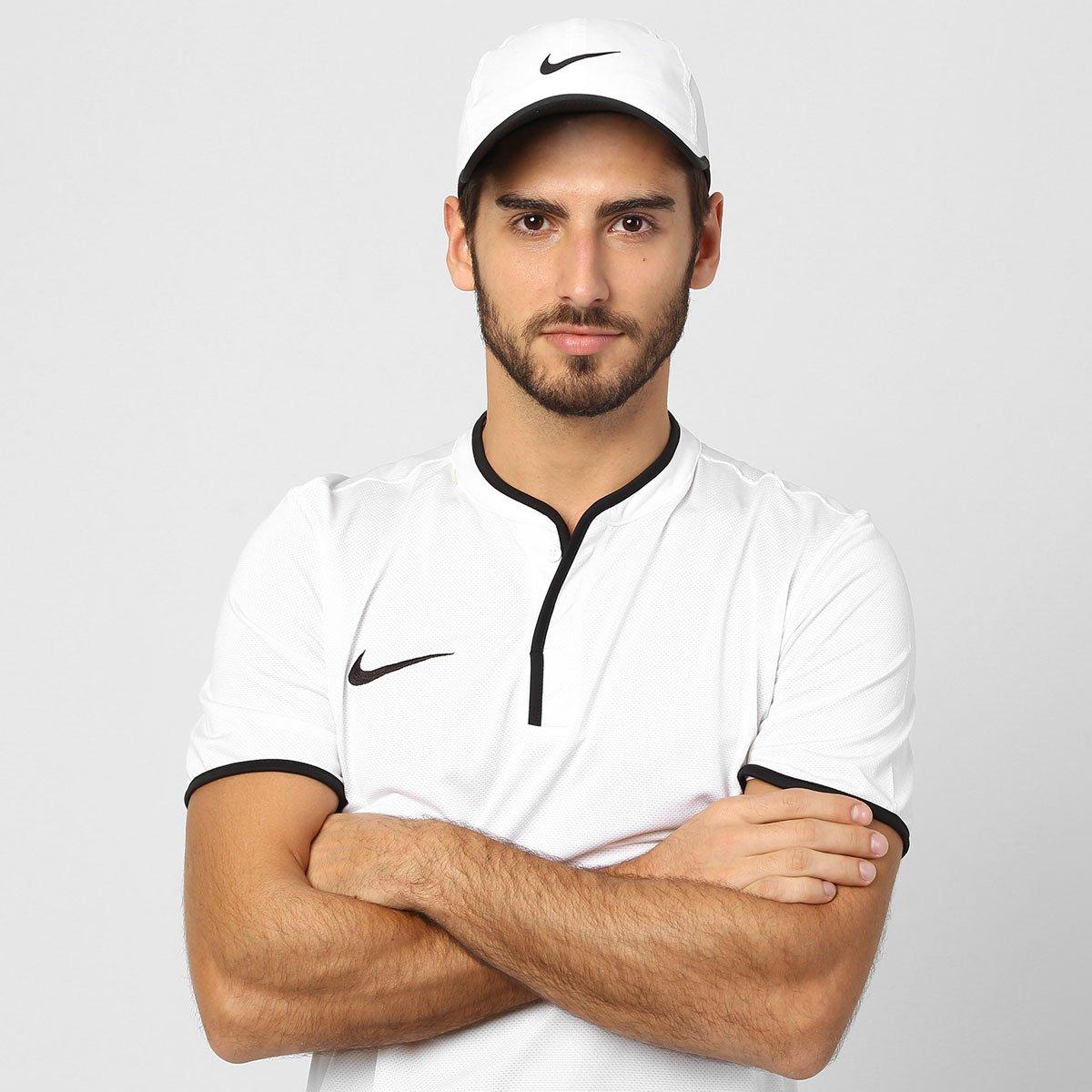 Boné Nike Aba Curva Featherlight - Branco e Preto - Compre Agora ... 7b947c2fff0