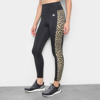 Calça Adidas 7/8 Leopardo Designed To Move Aeroready Feminina