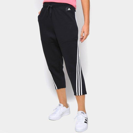 Calça Adidas 7/8 Wrapped 3 Listras Feminina - Preto+Branco