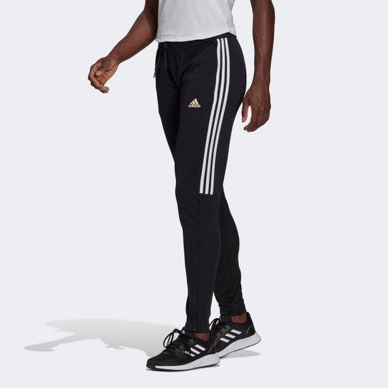 Calça Adidas Sereno 3 Listras Feminina - Preto+Branco