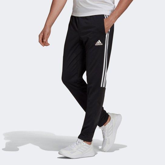 Calça Adidas Sereno 3 Listras Slim Masculina - Preto+Branco
