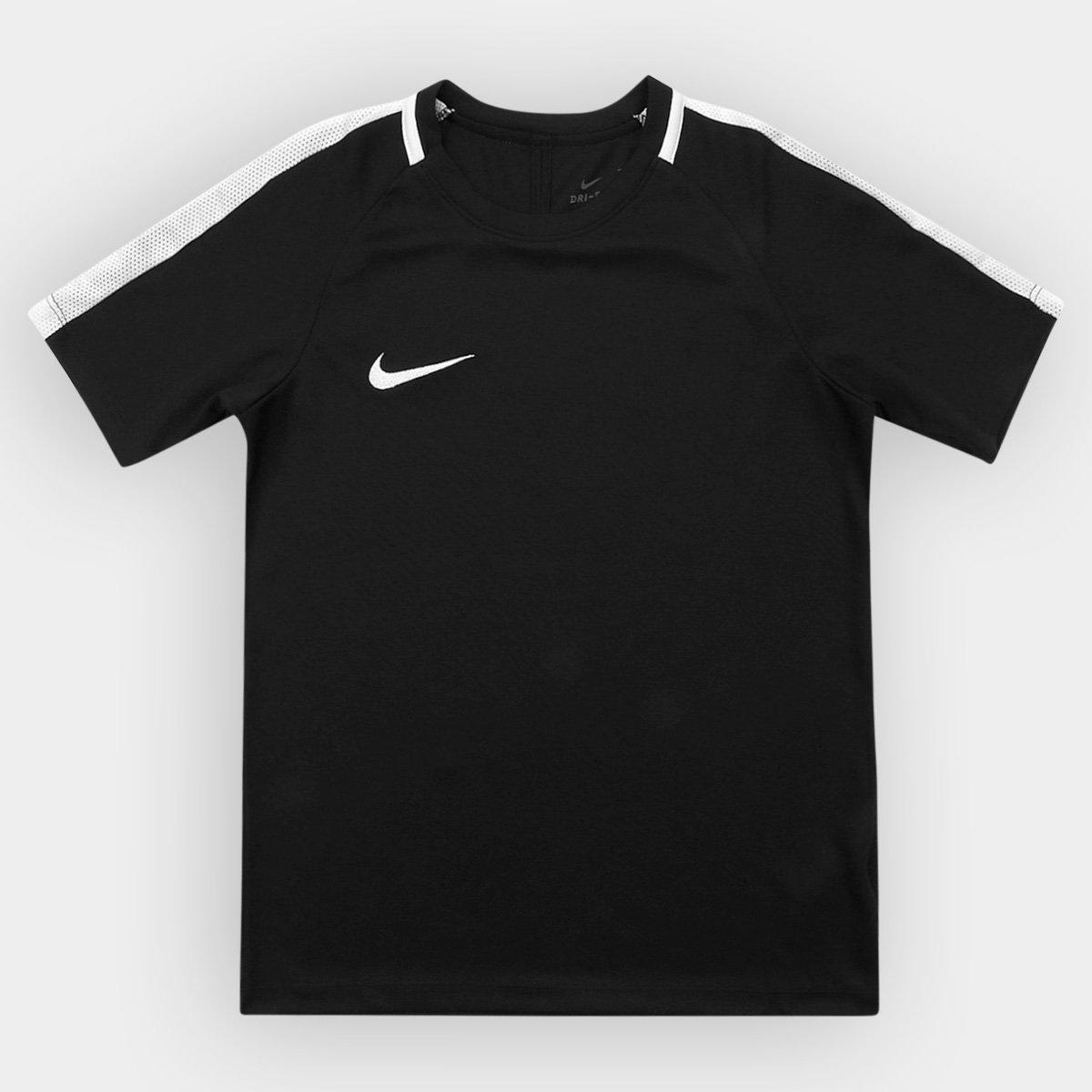 24b4bba295c Camisa Infantil Nike Dry Academy SS - Preto e Branco - Compre Agora ...