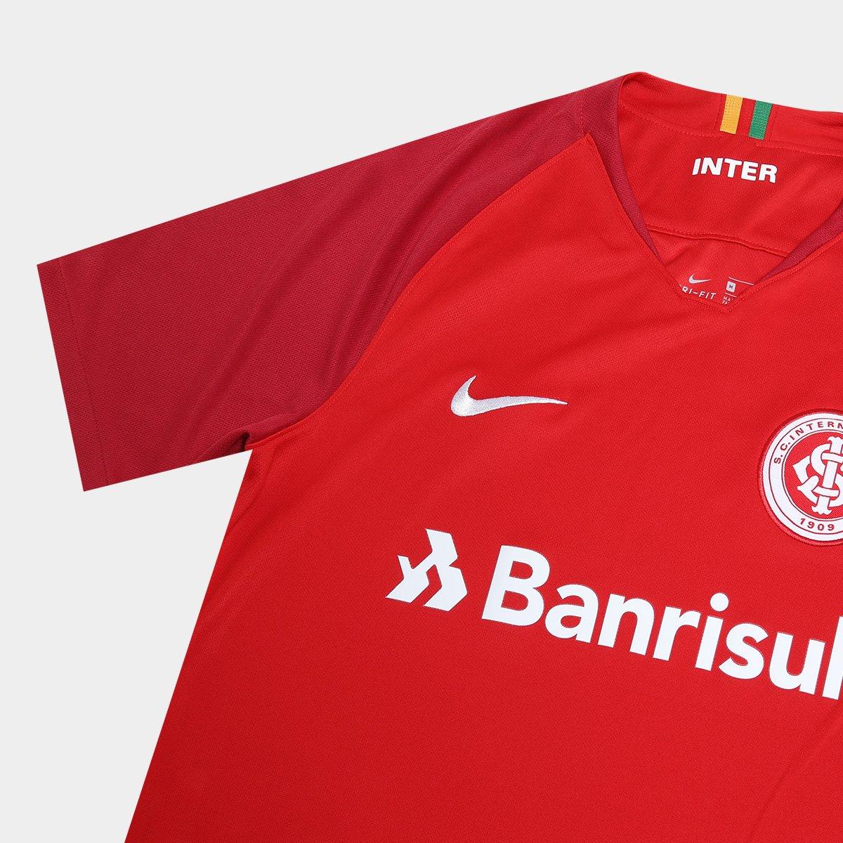 Camisa Internacional I 18 19 Torcedor Nike Masculina - Vermelho e ...  cc03d326d055ba ... 42b16d9957296