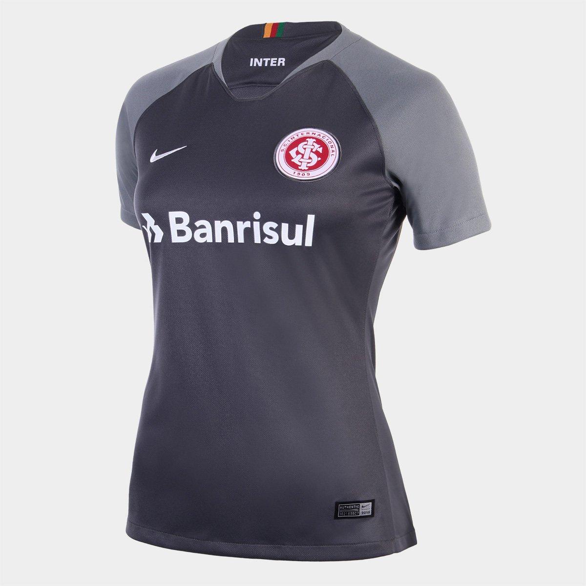 Camisa Internacional III 2018 s n° Torcedor Nike Feminina - Cinza e Branco  - Compre Agora  cdc02620f43