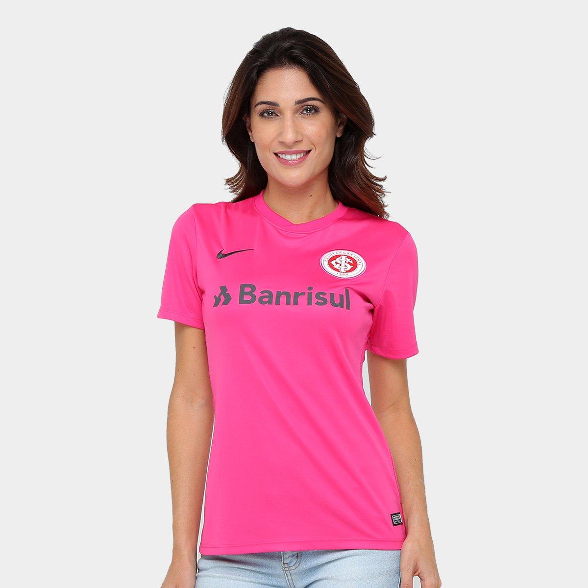 dd074ac99 Camisa Internacional Nike Feminina - Rosa e Chumbo