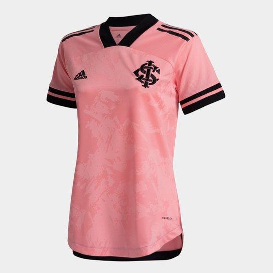 Camisa Internacional Outubro Rosa 20/21 s/n° Torcedor Adidas Feminina - Rosa+Preto