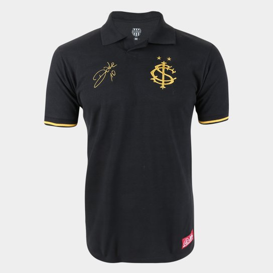 Camisa Polo Internacional D'Alessandro Gold RetrôMania Masculina - Preto