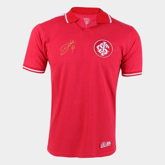 Camisa Polo Internacional D'Alessandro Stripe II RetrôMania Masculina - Vermelho