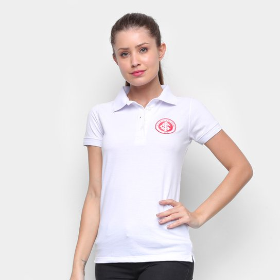 Camisa Polo Internacional Escudo Feminina - Branco